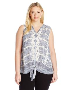 Lucky Brand Women's Plus-Size Geo Tie-Front Top * New and awesome product awaits you, Read it now  : Plus size shirts