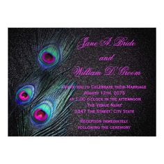 Peacock Wedding Invitations Elegant Black Teal and Hot Pink Peacock Wedding Card Peacock Wedding Invitations, Save The Date Invitations, Wedding Invitation Sets, Elegant Wedding Invitations, Custom Wedding Invitations, Save The Date Cards, Bridal Shower Invitations, Invites, Personalized Invitations