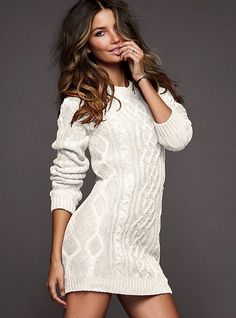 Slouchy Cable Sweaterdress - Victoria's Secret. I need something like this to wear with my knee-high socks.