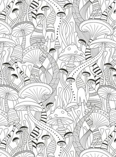 Mushrooms coloring page for adults. - Crafting Style