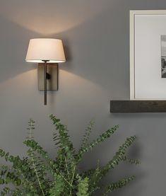 Elegant Long Stem Bracket Wall Light with Fabric Shade Fabric Shades, Chrome Finish, Sconces, Wall Lights, Bronze, Elegant, Stylish, Home Decor, Dapper Gentleman