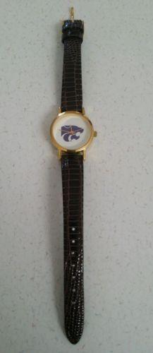 Kansas State University Ladies Watch leather band gold rim on face