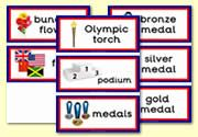 Medals, Podium, Torch etc flashcards, which can be used for The Olympics / London 2012.