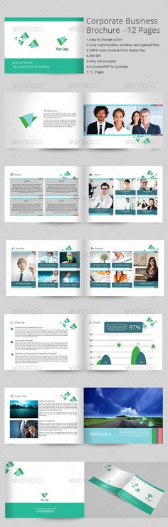 Corporate Business Brochure 12 Pages ...  12pages, a4, business, business portfolio, clean design, editable color, elegant, family, leisure, modern style, travel