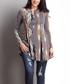 Love this Gray Southwest Notch Neck Pleated Tunic - Plus on #zulily! #zulilyfinds