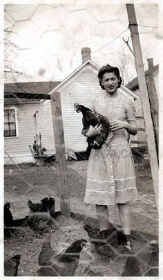 The problem was my Great Aunt Gertrude liked the chickens too much. Particularly one she called Woodstock. Antique Photos, Vintage Pictures, Vintage Photographs, Old Pictures, Vintage Images, Old Photos, Vintage Farm, Vintage Love, Vintage Antiques