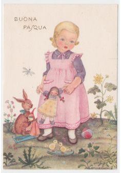 Non Viaggiata STILLEBACHER Cartolina vintage fg Pasqua bambina giocattoli