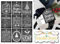 FREE Holiday Gift Tag Printables by Sugarflies Designs. Front and back designs included. #GiftTags #ChristmasTags #FreePrintables #FreeGiftTags #FreeHolidayGiftTags #ChalkboardPrintables