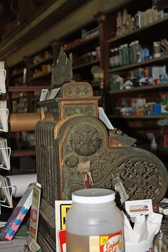 The antique cash register is another reminder of the store's age. And it is still used for transactions.