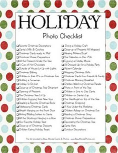 Christmas Photo Checklist...