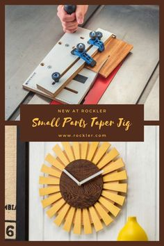 The miniature version of our full-size taper jig—ideal for the shorter legs on chairs, sofas and occasional tables. Make beautiful projects like the clock pictured here!  #newatrockler #rocklerinnovations #smallpartstaperjig #taperjig Rockler Woodworking, Woodworking Hand Tools, Woodworking Crafts, Woodworking Shop, Taper Jig, Occasional Tables, Wood Dust, Knobs And Handles, Woodworking Tools