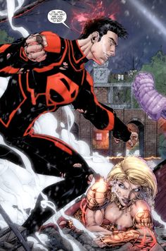 Superboy and Wonder Girl in Teen Titans Vol 4 # 4 - Art by Brett Booth, Norm Rapmund, & Andrew Dalhouse Comic Book Characters, Comic Character, Comic Books, Marvel Dc, Marvel Comics, Dc Comics Art, Manga Comics, Robin Dc, Batman Tattoo