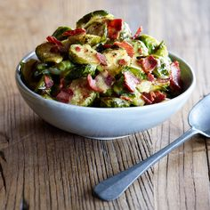 Roasted Brussels Sprouts with Turkey Bacon Vinaigrette - No salt needed or olive oil needed in this recipe (just spray veggies with some cooking spray) and only cook in over for 15 min at 450. I used a siracha mustard and maple syrup instead of honey for the dressing but kept it on the side as a dip. So yummy!!