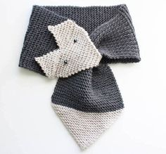 Free fox scarf knitting pattern in women's and children's sizes by Gina Michele.