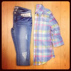Even if it looks well worn, denim and #plaid will never get old. #ootd #Kohls