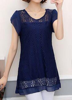 Navy Blue Petal Sleeve Lace Panel Blouse | Rosewe.com - USD $29.58