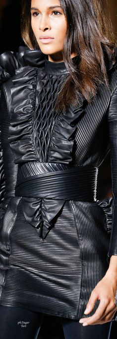 Fashion fabric manipulation leather, Balmain - Fall 2018 RTW