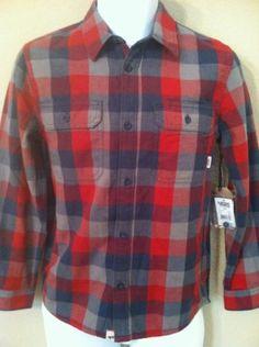 806d6cb7ba14f4 Vans Alameda Boys Long Sleeve Button Up Plaid Shirt Size Large Blues Red