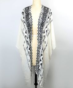 Look at this White Tribal-Geo Ruana on #zulily today!