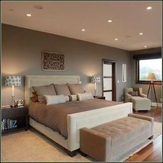 Bathroom, Delectable Minimalist Bedroom Design Ideas With Brown Wall Panel Color Scheme And Broken White Leather Fabric Master Bed Also Brown Velvet Upholstered Bench And White Linen Fabric Chaise Lounge Chair On Wooden Floor : Marvelous Image For Small Room Paint ColorsTo Decorate Your Minimalist Home