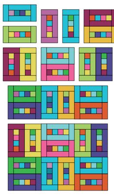 One strip needed for each rectangle. Two rectangles per block. 5 x 7 setting would need 70 strips. Scrap Quilt, Scrappy Quilt Patterns, Jellyroll Quilts, Quilt Blocks, Owl Quilts, Small Quilts, Easy Quilts, Rainbow Quilt, Quilt Modernen