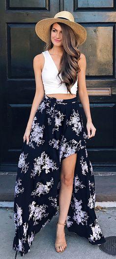 Beach Hat & White Cropped Top & Black Printed Maxi Skirt