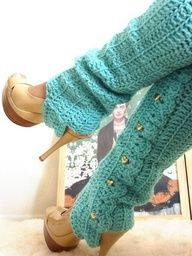 Turquoise leg warmers over heels