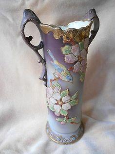 Drop Dead Gorgeous Nippon Coralene Vase with Bird | eBay