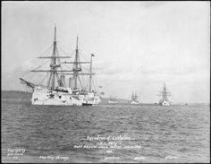 """Flag ship USS Chicago, leading the Squadron of Evolution, 1889. The Squadron of Evolution (sometimes referred to as the """"White Squadron"""") was a transitional unit in the United States Navy, during the late 19th century. It was composed of the cruisers USS Atlanta, USS Boston, USS Chicago, USS Yorktown, and dispatch boat USS Dolphin. Having both full rigged masts and steam engines, it was influential in the beginning of steel shipbuilding in the United States."""