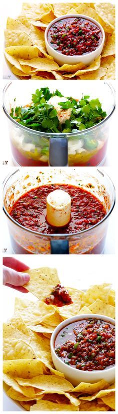 This Restaurant-Style Salsa recipe only takes 5 minutes to make, and is totally fresh and delicious! gimmesomeoven.com