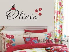 Girls Name Wall Decal  Ladybug Wall Decals  by WallapaloozaDecals, $30.00