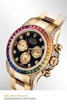 Rolex Cosmograph Daytona 40 mm in 18 ct yellow gold with a gem-set bezel, a diamond-set black dial and Oyster bracelet.