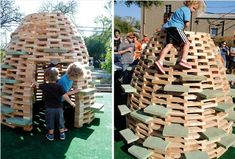 Build your own BEE HIVE play structure, it's genius! from Handmade Charlotte Diy Playground, Natural Playground, Playground Design, Outdoor Play Spaces, Outdoor Fun, Building A Beehive, Build A Playhouse, Modern Playhouse, Backyard Playhouse