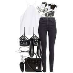 Untitled #3355 by amylal on Polyvore featuring Milly, H&M, ELSE, Acne Studios, Yves Saint Laurent, Miss Selfridge, John Hardy, Topshop, Michael Kors and A.J. Morgan