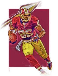 Jordan Reed Print featuring the mixed media Jordan Reed Washington Redskins Oil Art by Joe Hamilton