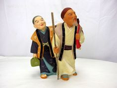 Vintage Japanese Sato Hakata Doll Elderly Couple Going for A Walk Bisque Statue | eBay