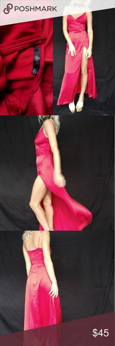 topshop red hot satin classic slit bombshell dress Best fitting dress ever.. labelled UK 4 size 0... But I'm usually a 2 or 4  34b 32c 26w 35hip.must be this size or smaller. Worn to one event.. Topshop Dresses Maxi