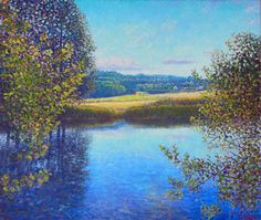 Culture, Siljan river Oil in linen, 60 cm Shops, Monet, Impressionist, Culture, Oil, River, Mountains, Artwork, Painting