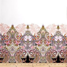 Paisley Cotton Voile Double Border Print White from @fabricdotcom  This lightweight cotton voile fabric features a double border. It is perfect for creating blouses, skirts and dresses with a lining. Colors include pink, coral, green, ivory, white, tan and black.