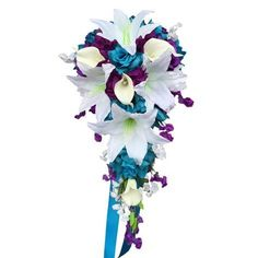 Dimension: DIA x Long Classic Cascade artificial flower arrangement. Made of open roses in turquoise blue. White tiger lilies and calla lilies. Cascading Wedding Bouquets, Cheap Wedding Flowers, Cascade Bouquet, Flower Bouquet Wedding, Rose Bouquet, Floral Wedding, Wedding Ideas, Purple Wedding, Flower Bouquets