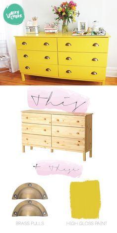 Ikea Hack: Ikea Kommode in knallgelb. Ein echter Hingucker!
