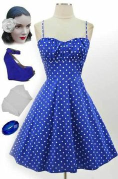 50s Style BLUE with White POLKA DOTS ROUCHED Bust Bombshell PINUP Sun Dress