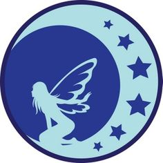 Fairy Silhouette Clip Art | Fantasy Clipart Image: A Blue Silhouette Of A Fairy On The Moon