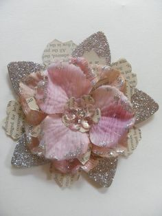 Fabric and paper flower with glitter  http://uniquelyella.blogspot.com/search?updated-max=2011-09-02T15%3A00%3A00-07%3A00=7