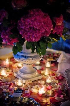 I like the glow of the candlelight on the rose petals