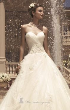 Beaded Strapless Sweetheart Gown by Casablanca Bridal 2112