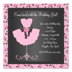 Shop Pink Rose Ballerina Girls Ballerina Birthday Party Invitation created by InvitationCentral. Birthday Invitation Card Template, Art Party Invitations, Personalized Invitations, Invites, Ballerina Birthday Parties, 40th Birthday Parties, 5th Birthday, Birthday Ideas, Rose