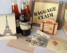Vintage Travel Printable Party Pack Kit Wedding Birthday Instant Download