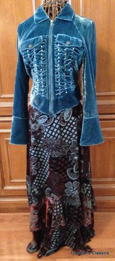 DOUBLE D RANCH Brown & Turquoise Velvet Skirt L#DoubleDRanch #Tiered