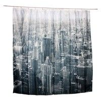 View of The City Shower Curtain Waterproof Mildew-proof with 12 Hooks